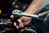 Auto Mechanic Working In Garage. Repair Service. poster