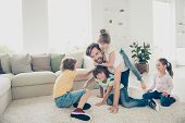 Relax, Rest, Careless, Carefree Concept. Family With Four Children And One Parent Comfort Play Neat  poster