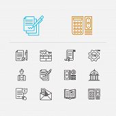 Court Icons Set. Court And Court Icons With Law, Business And Labor. Set Of Cover For Web App Logo U poster