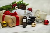 Spa Concept, Wellness Objects On Wood Plant , Christmas Background. Present Holiday poster