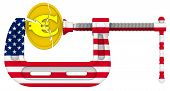 Usa Sanctions Pressure On The European Economy. Concept. Gold Coin With The Symbol Of The Euro Is Cl poster