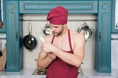 Chef Choose Professional Tools. Kitchen Utensils And Tools. Chef Hold Knife Tool Ready To Cook. Man  poster