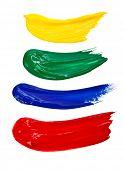 Постер, плакат: Четыре мазки кистью Изолированные на белом фоне
