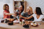 Happy Old Women Celebrate 8 March. Drinking Wine. Romantic Day With Family. Wine And Cake. Spring Wi poster
