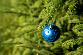 Christmas Background With Blue Ornaments. New Year Party Decoration With Shiny Balls. Copy Space.car poster