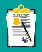 Clipboard With Police Report And Pen. Report Sheet With Gold Police Badge. Legal Fine Document And S poster
