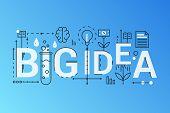 Big Idea 2019 Word Trendy Composition Concept Banner. Outline Stroke Big Fresh Idea, Brainstorming,  poster