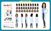 Female Doctor Character Creation Set.front, Side, Back View Animated Character.doctor Character Crea poster