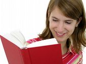 picture of girl reading book  - girl reading book - JPG