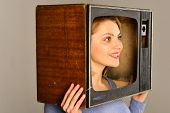 Retro Television. Woman With Retro Television Set On Head. Retro Television Set In Hands Of Girl. Re poster
