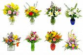 picture of centerpiece  - Collection of various colorful flower arrangements centerpieces as bouquets in vases and baskets - JPG