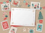 Christmas Decorative Card, Border, Frame With Christmas Tree And Festive Decorations Garland, Sock,  poster