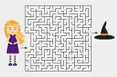 Halloween Labyrinth Game, Help The Witch To Find A Way Out Of The Maze, Cute Cartoon Character, Pres poster