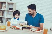 Boy. Father. Sweet Boy. Delisious Food. Sausages. Having Breakfast. Happy Together. Man. Spends Time poster