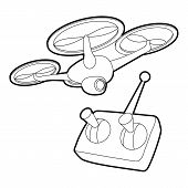 Rc Helicopter Icon. Outline Illustration Of Rc Helicopter Icon For Web poster