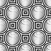 Abstract Vector Seamless Op Art Pattern. Monochrome Pop Art, Graphic Ornament. Optical Illusion poster