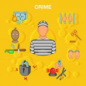 Crime Accident Concept Set. Cartoon Illustration Of Crime Accident Concept For Web poster