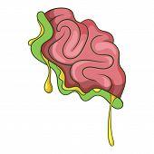 Zombie Brain Icon. Cartoon Illustration Of Zombie Brain Icon For Web poster