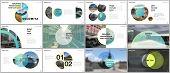 Minimal Presentations Design, Portfolio Vector Templates With Circle Elements On White Background. M poster