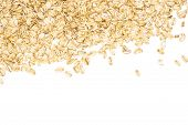 Lot Of Whole Flat Raw Rolled Oats Above Flatlay Isolated On White Background poster