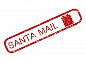 Santa Claus Mail Rubber Stamp With Giftbox. Vector Gift Delivery Stamp On Xmas And New Year Illustra poster