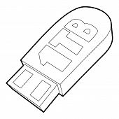 Flash Drive Icon. Outline Illustration Of Flash Drive Icon For Web poster