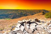 Gamla Nature Reserve Located In The Golan Heights In Israel At Sunrise. View Of The Archaeological S poster
