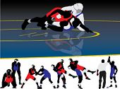 image of wrestling  - Set of wrestling action silhouette illustrations - JPG