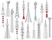 Radio Tower Vector Towered Communication Technology Antenna Construction In City With Network Wirele poster