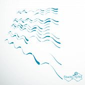 Flowing Rhythm, Abstract Wave Lines Vector Background For Use In Graphic And Web Design. poster