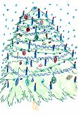 Christmas Tree Card. Colorful Drawing: Christmas Tree, Illustration Of A Greeting Christmas Tree Col poster