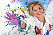 image of coy  - Beautiful Young Woman Covered in Paint - JPG