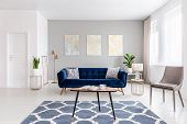 Open Space Living Room Interior With Modern Furniture Of A Navy Blue Settee, A Beige Armchair, A Cof poster