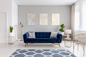 An Elegant Navy Blue Sofa In The Middle Of A Bright Living Room Interior With Gold Metal Side Tables poster