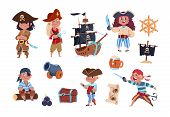 Cartoon Pirates. Funny Pirate Captain And Sailor Characters, Ship Treasure Map Vector Collection. Ca poster