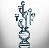 Digital Dna Innovation Symbol As Genetics Testing And Medicine Technology Or Biotechnology Research  poster