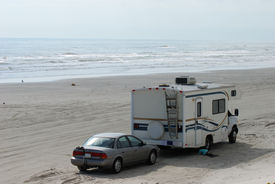 stock photo of recreational vehicle  - Luxury rv on the beach of Padre Island Texas - JPG