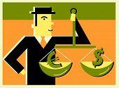 Постер, плакат: Человек весом доллара против евро