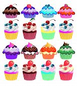 picture of sweet sixteen  - Sixteen cupcakes ready for you advertisement or web page - JPG