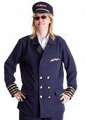 image of stewardship  - Female pilot standing firm in her job - JPG