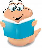foto of bookworm  - a bookworm reading a book wearing his Harry Potter type glasses - JPG
