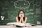 picture of formulas  - Stressed Asian student in a classroom - JPG