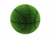 3D Grass Basketball. 3D Grass Ball. Recycle Concept.