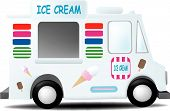 stock photo of ice-cream truck  - an ice cream truck decorated with cones and bars - JPG