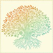 stock photo of tree-flower  - Beautiful vintage hand drawn tree of life - JPG