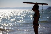 foto of boogie board  - Silhouette of a young woman holding a surf board in top of her head about to get into the water - JPG