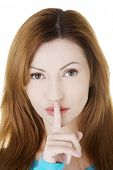 image of hush  - Hush be quiet woman isolated - JPG