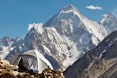 stock photo of skardu  - Karakorum Camp Pakistan with grand view of Gasherbrum IV - JPG