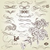 Collection Of Vintage Calligraphic Design Elements And Page Decorations