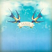 stock photo of swallow  - Swallows mail vintage postcard - JPG